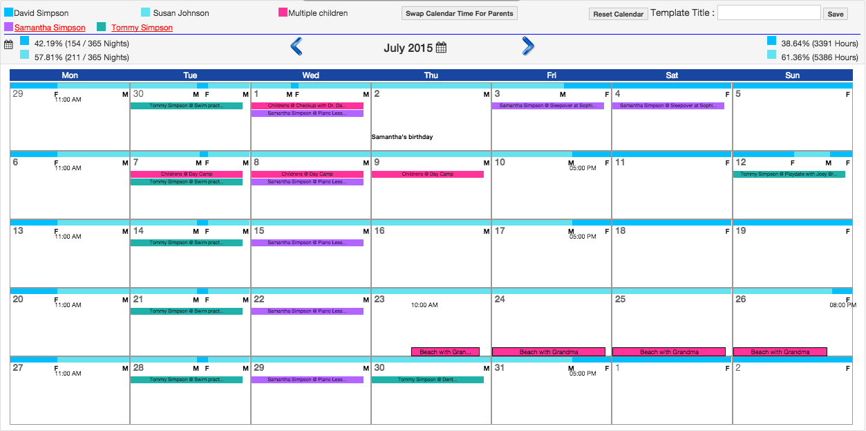 co parenting calendar template - custody calendar creator jennies blog child custody